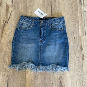 NWT pink lily denim skirt with fringe!